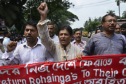 September 7, 2017 - Dhaka, Bangladesh - Different organization held protest rally demanding immediate effective intervention of United Nation to stop Genocide on the Rohingya of Myanmar in Dhaka, Bangladesh. On September 07, 2017. (Credit Image: © Str/NurPhoto via ZUMA Press)