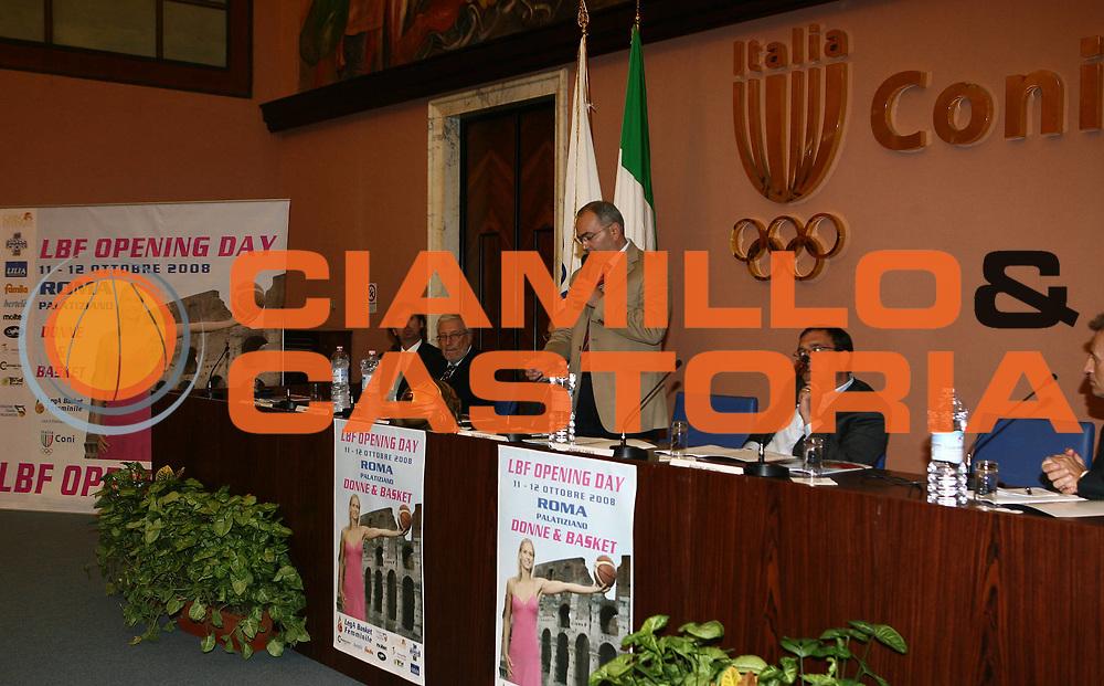 DESCRIZIONE : Roma Sala d'Onore del CONI Presentazione Lega Basket Femminile LBF Opening Day Stagione 2008-09<br /> GIOCATORE : Mario Di Marco<br /> SQUADRA : Lega Basket Femminile<br /> EVENTO : Campionato Lega Basket Femminile A1 2008-2009 <br /> GARA :<br /> DATA : 02/10/2008 <br /> CATEGORIA : Presentazione<br /> SPORT : Pallacanestro <br /> AUTORE : Agenzia Ciamillo-Castoria/E.Castoria