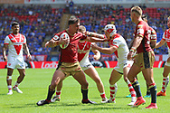 Tony Gigot of Catalans Dragons and Theo Fages of St Helens in action during the Ladbrokes Challenge Cup Semi Final match at the Macron Stadium Stadium, Bolton.<br /> Picture by Michael Sedgwick/Focus Images Ltd +44 7900 363072<br /> 05/08/2018