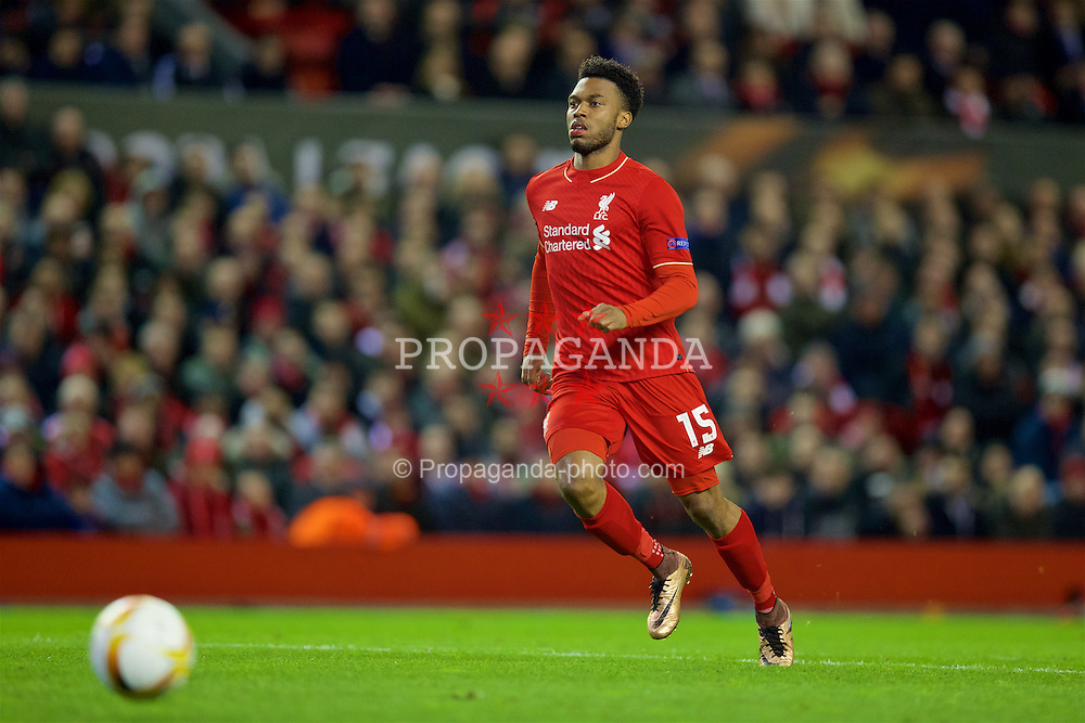 LIVERPOOL, ENGLAND - Thursday, March 10, 2016: Liverpool's Daniel Sturridge in action against Manchester United during the UEFA Europa League Round of 16 1st Leg match at Anfield. (Pic by David Rawcliffe/Propaganda)
