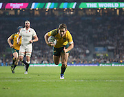Australia's fly half Bernard Foley scoring Australia's second try during the Rugby World Cup Pool A match between England and Australia at Twickenham, Richmond, United Kingdom on 3 October 2015. Photo by Matthew Redman.