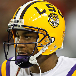 Dec 3, 2011; Atlanta, GA, USA; LSU LSU Tigers quarterback Jordan Jefferson (9) prior to kickoff of a game Georgia Bulldogs during the 2011 SEC championship game at the Georgia Dome.  Mandatory Credit: Derick E. Hingle-US PRESSWIRE