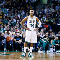 21 December 2012: Boston Celtics small forward Paul Pierce (34) rests during the Milwaukee Bucks 99-94 overtime victory over the Boston Celtics at the TD Garden, Boston, Massachusetts, USA.