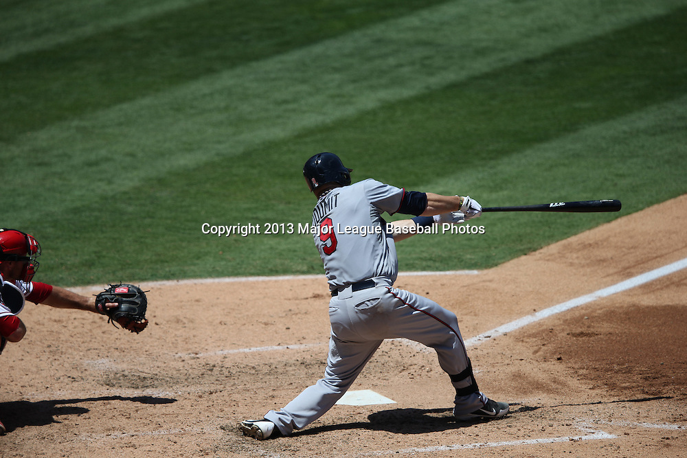 ANAHEIM, CA - JULY 24:  Ryan Doumit #9 of the Minnesota Twins bats during the game against the Los Angeles Angels of Anaheim on Wednesday, July 24, 2013 at Angel Stadium in Anaheim, California. The Angels won the game in a 1-0 shutout. (Photo by Paul Spinelli/MLB Photos via Getty Images) *** Local Caption *** Ryan Doumit