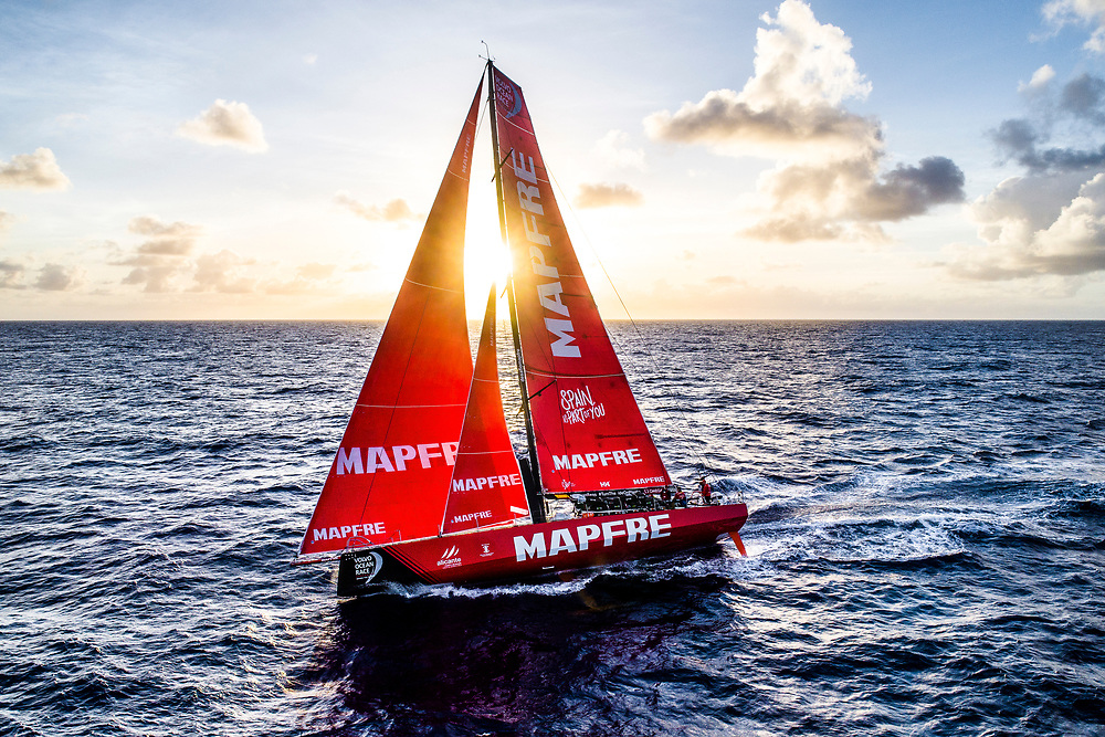 Leg 6 to Auckland, day 07 on board MAPFRE, HDR Drone shot at the sunset. 13 February, 2018.