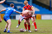 London Broncos interchange Edward Battye (15) at the play the ball area  during the Betfred Championship match between Halifax RLFC and London Broncos at the MBi Shay Stadium, Halifax, United Kingdom on 8 April 2018. Picture by Simon Davies.