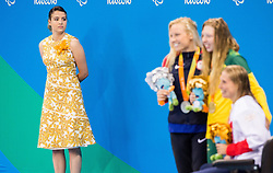 Second placed Jessica Long of USA, winner Lakeisha Patterson of Australia and third placed Stephanie Millward of Great Britain celebrate at medal ceremony after the Women's 400m Freestyle S8 Final on day 1 during the Rio 2016 Summer Paralympics Games on September 8, 2016 in Olympic Aquatics Stadium, Rio de Janeiro, Brazil. Photo by Vid Ponikvar / Sportida