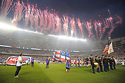 CHICAGO, IL - AUGUST 02: Fireworks go off during the national anthem during prior to a soccer match between the MLS All-Stars and Real Madrid on August 2, 2017, at Soldier Field, in Chicago, IL. (Photo by Patrick Gorski/Icon Sportswire)