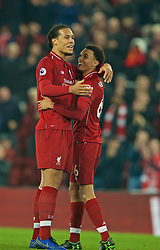 LIVERPOOL, ENGLAND - Wednesday, February 27, 2019: Liverpool's Virgil van Dijk celebrates with Trent Alexander-Arnold after the 5-0 victory during the FA Premier League match between Liverpool FC and Watford FC at Anfield. (Pic by Paul Greenwood/Propaganda)