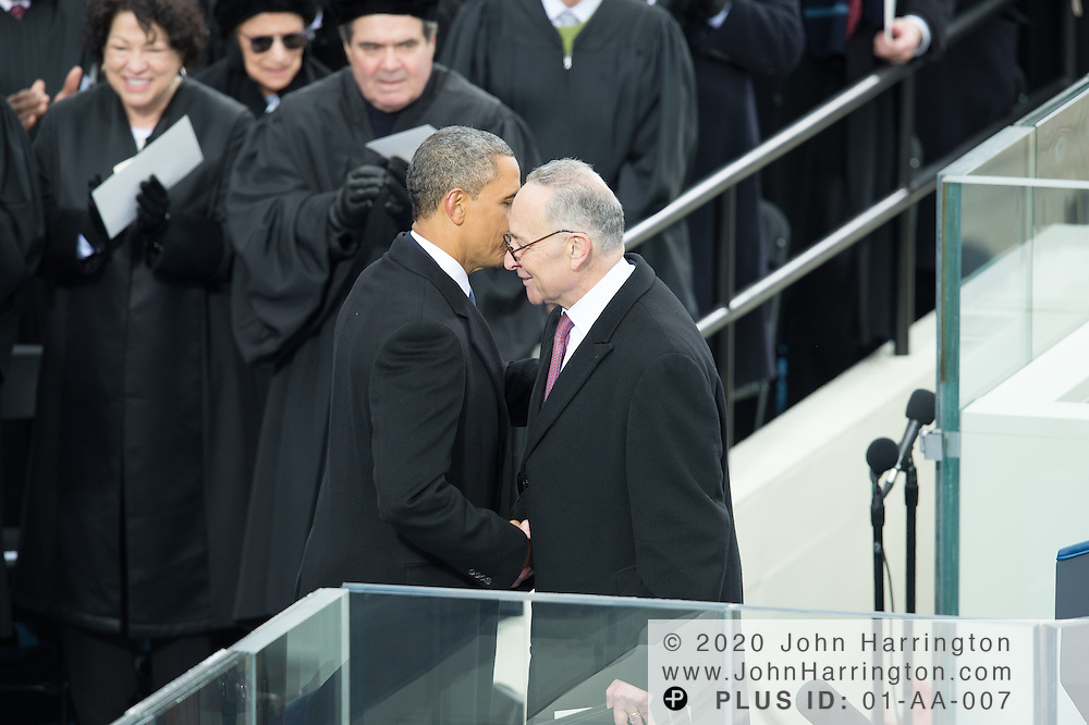 President Obama thanks Sen. Charles Schumer for introducing him for his second inaugural address during the 57th Presidential Inauguration of President Barack Obama at the U.S. Capitol Building in Washington, DC January 21, 2013.