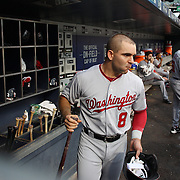 NEW YORK, NEW YORK - July 07: Danny Espinosa #8 of the Washington Nationals heads out of the dugout to bat during the Washington Nationals Vs New York Mets regular season MLB game at Citi Field on July 07, 2016 in New York City. (Photo by Tim Clayton/Corbis via Getty Images)