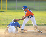 Levittown's Kyle Tepper #3 is safe at third base as Upper Moreland's Logan Sneed #33 applies a tag at Harry Truman High School Friday July 15, 2016 in Levittown, Pennsylvania. Levittown defeated Upper Moreland 6-0. (Photo by William Thomas Cain)