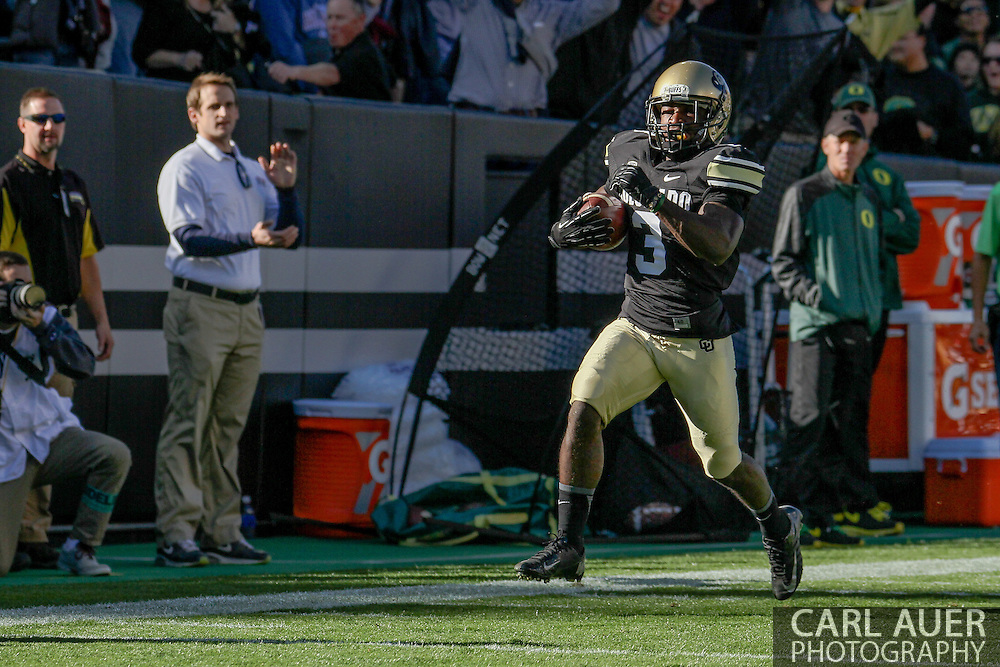 October 5th, 2013:  Colorado Buffaloes junior wide receiver D.D. Goodspn (3) runs a 75 yard pass to the end zone for a Colorado touchdown in the first half of the NCAA football game between the University of Oregon Ducks and the Colorado Buffaloes at Folsom Field in Boulder, Colorado