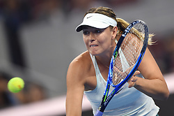 BEIJING, Sept. 30, 2017  Maria Sharapova of Russia returns a shot during the women's singles first round match against Anastasija Sevastova of Latvia at 2017 China Open in Bejing, capital of China, Sept. 30, 2017. Maria Sharapova won 2-1. (Credit Image: © Ju Huanzong/Xinhua via ZUMA Wire)