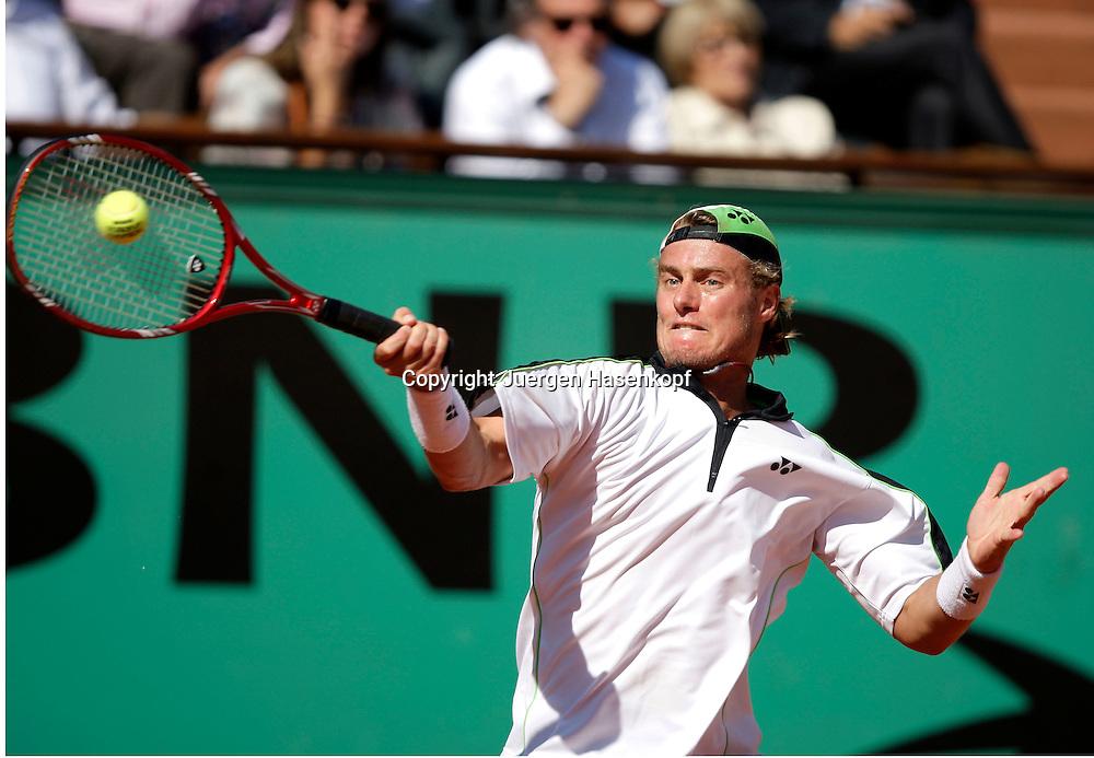 French Open 2009, Roland Garros, Paris, Frankreich,Sport, Tennis, ITF Grand Slam Tournament, .Lleyton Hewitt (AUS)  spielt eine Vorhand,forehand,action,..Foto: Juergen Hasenkopf..