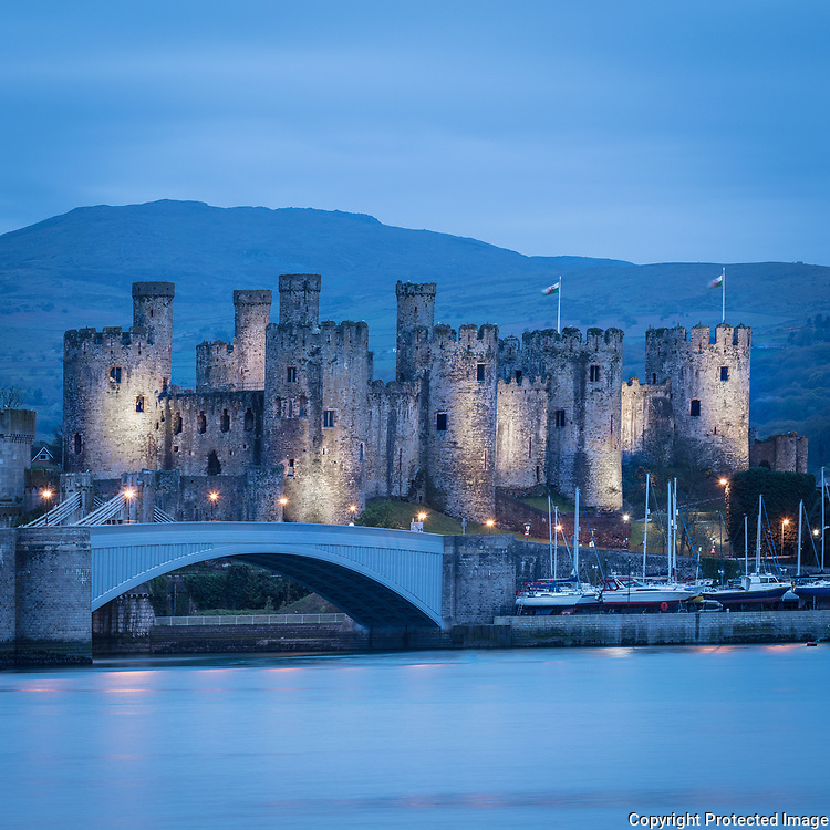 Conwy Castle at dusk II, Conwy.