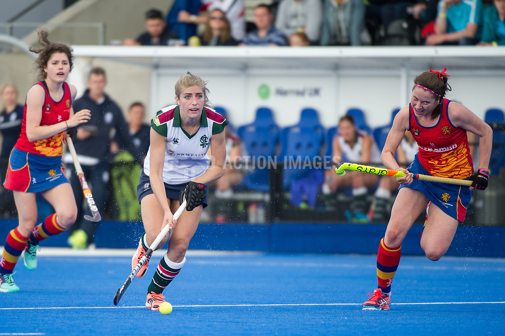Surbiton's Sarah Haycroft. University of Birmingham v Surbiton - Semi-Final - Investec Women's Hockey League Finals, Lee Valley Hockey & Tennis Centre, London, UK on 22 April 2017. Photo: Simon Parker