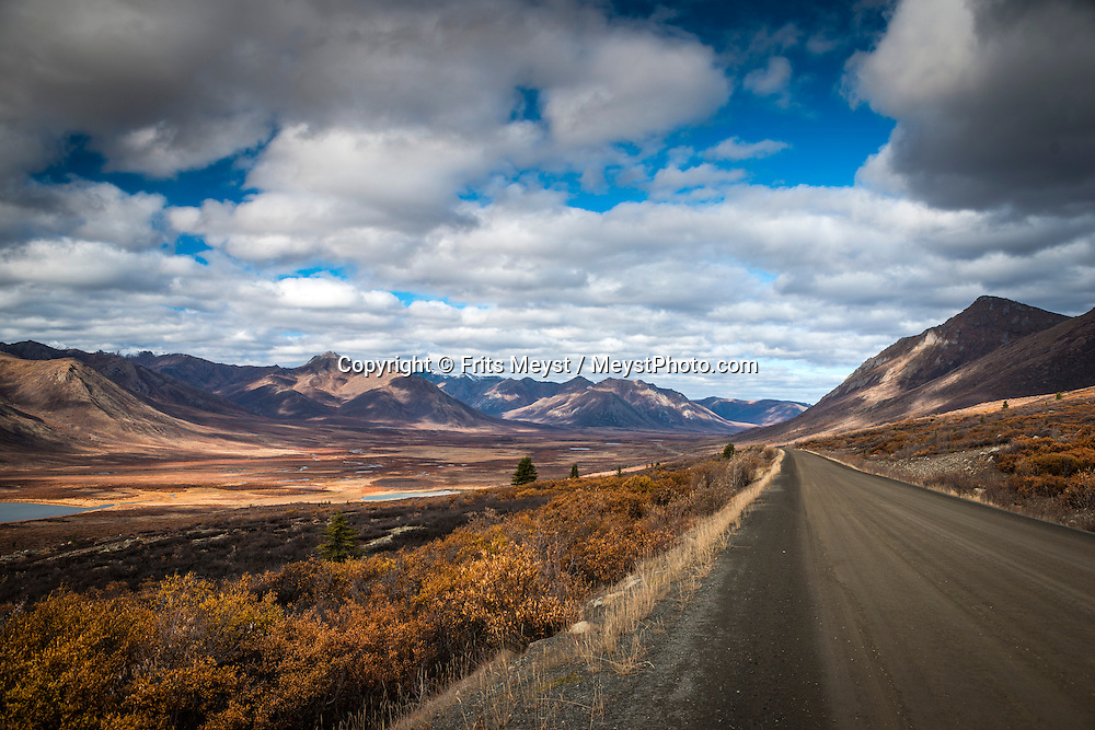 Yukon Territory, Canada, September 2014. The Dempster Highway is Canada's only 4 season road to cross the Arctic Circle. This scenic dirt road, that passes through spectacular mountain wilderness of Tombstone Territorial Park with lots of wildlife,  connects Inuvik to the outside world. With scenic drives in abundance, the Yukon Territory is a driver's dream. The territory boasts a network of well-maintained highways leading through an exhilarating combination of postcard scenery, historic communities, cultural attractions and adventure outings.The Yukon Territory received world fame during the Klondike Gold Rush in 1898.  Photo by Frits Meyst / MeystPhoto.com