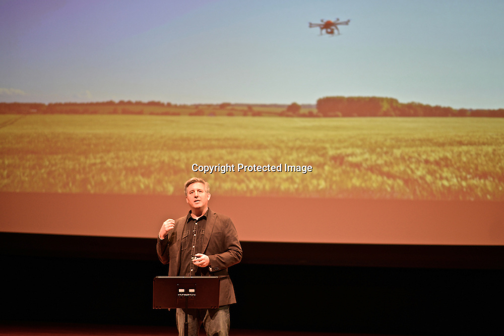 Daniel Suarez, American IT consultant turned author at the Drones and Aerial Robotics Conference (DARC), held at New York University. Published ¨Kill Decision¨, a espionage novel about warfare using robots.