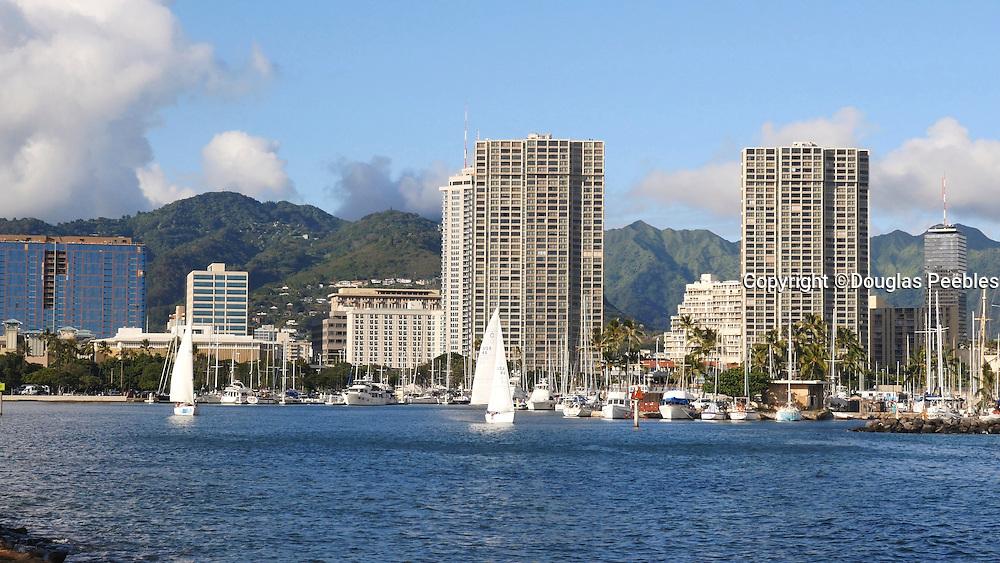 Friday yacht race, Ala Wai Harbor, Magic Island, Ala Moana, Waikiki, Honolulu, Oahu, Hawaii