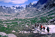 Climbers approaching Titcomb Basin