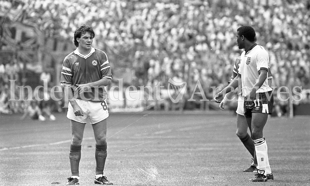 Republic of Ireland v England game in the European Championship Final at Stuttgart. Photographer Jim O'Kelly. 12 June 1988 (Part of the Independent Newspapers Ireland/NLI Collection).