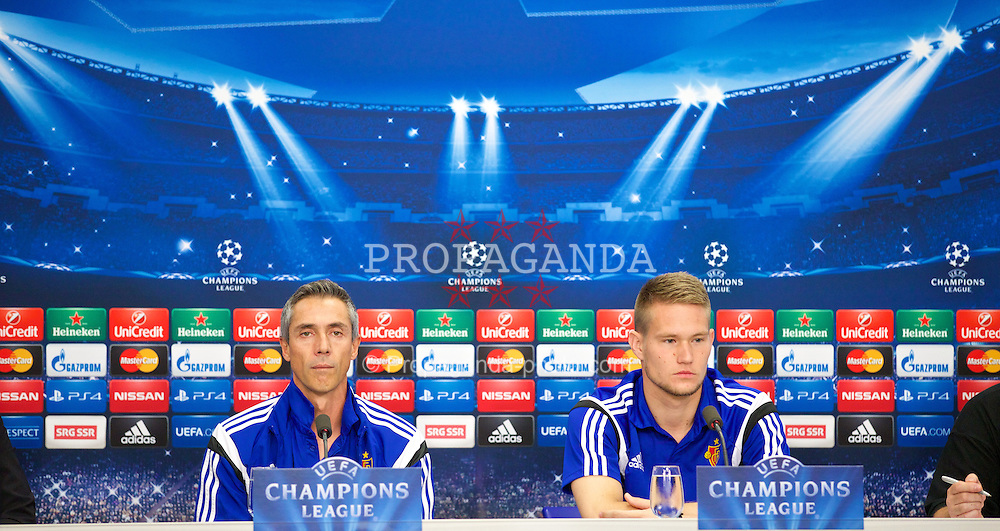BASEL, SWITZERLAND - Tuesday, September 30, 2014: FC Basel's head coach Paulo Sousa and goalkeeper Tomas Vaclik during a press conference at the St. Jakob Stadium ahead of the UEFA Champions League Group B match against Liverpool. (Pic by David Rawcliffe/Propaganda)