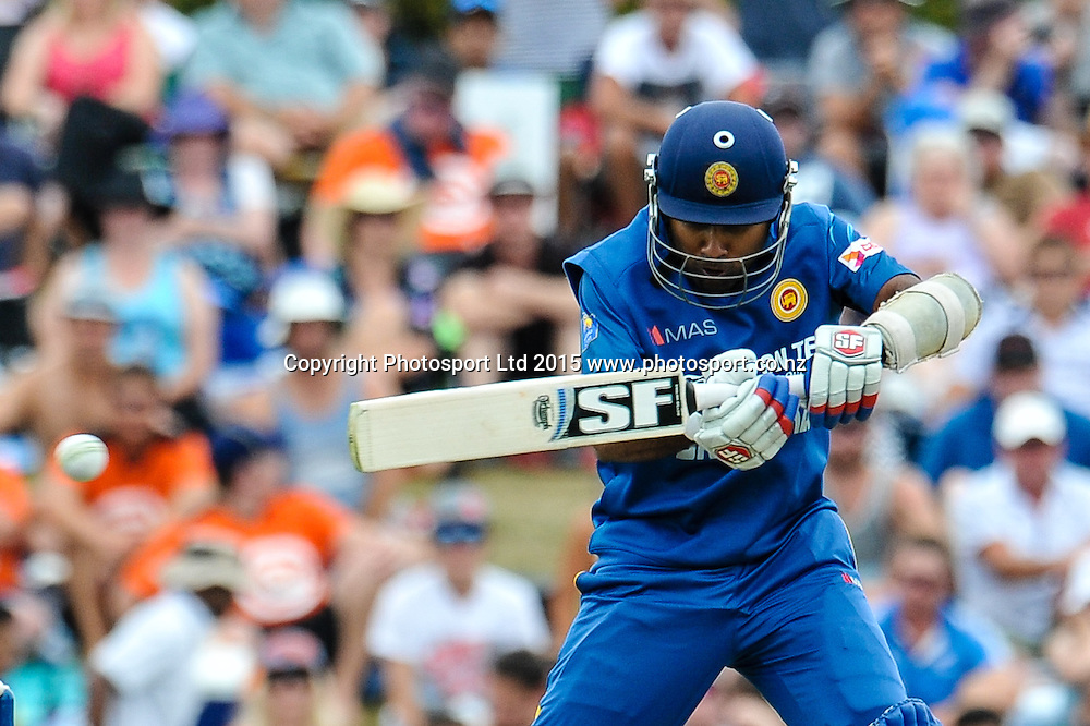 Mahela Jayawardene of Sri Lanka cuts a ball in the first ODI, Black Caps v Sri Lanka, at Hagley Oval, Christchurch, 11 January 2015. Photo:John Davidson/www.photosport.co.nz