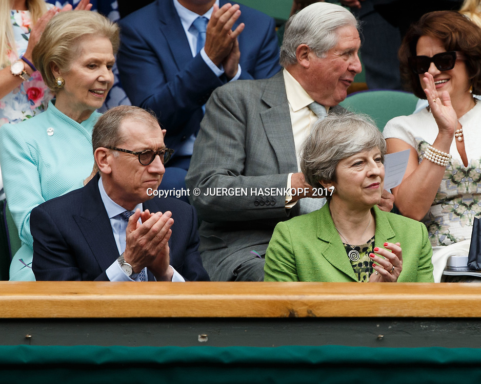 Wimbledon Feature, Herren Endspiel, Finale, Premierministerin Theresa May und Philip May in der Ehrenloge,Royal Box,<br /> <br /> Tennis - Wimbledon 2017 - Grand Slam ITF / ATP / WTA -  AELTC - London -  - Great Britain  - 16 July 2017.