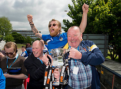 Bristol Rovers' Stuart Sinclair and Kitman, Tom Foley with the Vanarama Conference Play-Off final trophy - Photo mandatory by-line: Dougie Allward/JMP - Mobile: 07966 386802 - 25/05/2015 - SPORT - Football - Bristol - Bristol Rovers Bus Tour