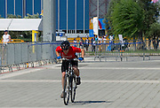 Athlete Jacek Cieslik of SO Poland while cycling competition during 2011 Special Olympics World Summer Games Athens on June 27, 2011..The idea of Special Olympics is that, with appropriate motivation and guidance, each person with intellectual disabilities can train, enjoy and benefit from participation in individual and team competitions...Greece, Athens, June 27, 2011...Picture also available in RAW (NEF) or TIFF format on special request...For editorial use only. Any commercial or promotional use requires permission...Mandatory credit: Photo by © Adam Nurkiewicz / Mediasport