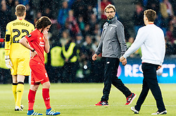 18.05.2016, St. Jakob Park, Basel, SUI, UEFA EL, FC Liverpool vs Sevilla FC, Finale, im Bild enttäuscht Simon Mignolet (FC Liverpool), Joe Allen (FC Liverpool), Trainer Juergen Klopp (FC Liverpool), Lucas Leiva (FC Liverpool) // Simon Mignolet (FC Liverpool) Joe Allen (FC Liverpool) Trainer Juergen Klopp (FC Liverpool) Lucas Leiva (FC Liverpool) disappointed during the Final Match of the UEFA Europaleague between FC Liverpool and Sevilla FC at the St. Jakob Park in Basel, Switzerland on 2016/05/18. EXPA Pictures © 2016, PhotoCredit: EXPA/ JFK