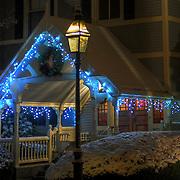 Christmas lights on entrance to Sise Inn, Portsmouth, NH