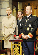 19.NOVEMBER.2011. MONACO<br /> <br /> PRINCE ALBERT II OF MONACO AND HIS WIFE PRINCESS CHARLENE AT MONACO CATHEDRAL FOR THE NATIONAL DAY OF MONACO.<br /> <br /> BYLINE: EDBIMAGEARCHIVE.COM<br /> <br /> *THIS IMAGE IS STRICTLY FOR UK NEWSPAPERS AND MAGAZINES ONLY*<br /> *FOR WORLD WIDE SALES AND WEB USE PLEASE CONTACT EDBIMAGEARCHIVE - 0208 954 5968*