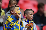 Fans inside Wembley Stadium before the Sky Bet League 2 play off final match between AFC Wimbledon and Plymouth Argyle at Wembley Stadium, London, England on 30 May 2016.