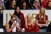 Ellie Bird of the Tactix with Marianne Delaney-Hoshek Coach of the Tactix during the ANZ Premiership Netball match, Tactix v Pulse, Horncastle Arena, Christchurch, New Zealand, 11th July 2018.Copyright photo: John Davidson / www.photosport.nz