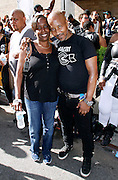 """Donna Edwards and Andre Collins attend the Paradise Garage Party """"Larry Levan Day"""" event on King Street in New York City, New York on May 11, 2014."""