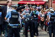 Deutschland | Frankfurt | 25.06.2015 : Queen Elisabeth II is visiting Frankfurt during her trip to Germany<br /> <br /> here: Police are frisking spectators<br /> <br /> 20150625<br /> Sascha Rheker