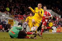 Photo: Alan Crowhurst.<br />Leyton Orient v Cheltenham Town. Coca Cola League 2. 11/03/2006. Steve Gillespie goes close for Cheltenham.