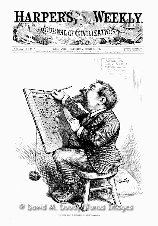 1876 Self Portrait of illustrator Thomas Nast from Harper's Weekly. Nast was one of the most influential illustrators in America. He satirizes the 1876 Presidential election while doing his self portrait.