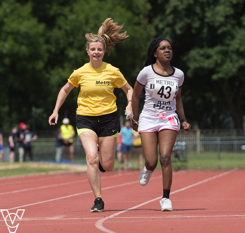 Metro Blind Sport's 2017 Athletics Open held at Mile End Stadium.  100m.  Precious Ntumy-Kamara with guide runner<br /> <br /> Picture: Chris Vaughan Photography for Metro Blind Sport<br /> Date: June 17, 2017