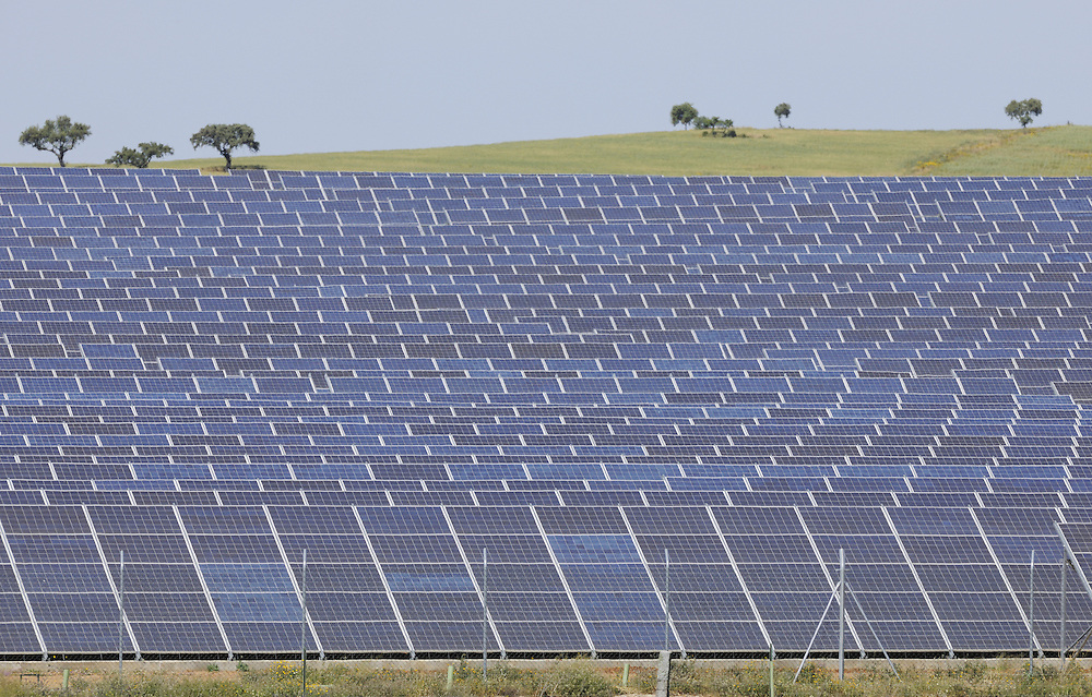 Solar power panel landscape, power station in Extremadura, Spain