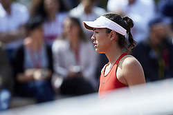 April 21, 2018 - La Manga, Murcia, Spain - Garbine Muguruza of Spain looks on in her match against Montserrat Gonzalez of Paraguay during day one of the Fedcup World Group II Play-offs match between Spain and Paraguay at Centro de Tenis La Manga Club on April 21, 2018 in La Manga, Spain  (Credit Image: © David Aliaga/NurPhoto via ZUMA Press)