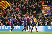 GOAL - Barcelona midfielder Philippe Coutinho (7) celebrates with Barcelona midfielder Sergi Roberto (20) during the Champions League quarter-final leg 2 of 2 match between Barcelona and Manchester United at Camp Nou, Barcelona, Spain on 16 April 2019.