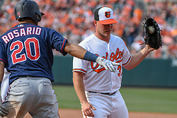 March 29, 2018 - Baltimore, MD, U.S. - BALTIMORE, MD - MARCH 29: Baltimore Orioles starting pitcher Dylan Bundy (37) covers first base to retire Minnesota Twins left fielder Eddie Rosario (20) during the Opening Day game between the Minnesota Twins and the Baltimore Orioles on March 29, 2018, at Orioles Park at Camden Yards in Baltimore, MD.  The Baltimore Orioles defeated the Minnesota Twins, 3-2 in eleven innings.  (Photo by Mark Goldman/Icon Sportswire) (Credit Image: © Mark Goldman/Icon SMI via ZUMA Press)