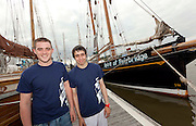 1/7/2011.From left Kiernan Burleigh and Dale Cunningham pictured with the Spirit of Fairbridge at the Waterford Tall Ships Festival..Picture Dylan Vaughan