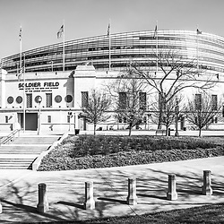 Chicago Soldier Field stadium black and white photo. Soldier Field is home to the Chicago Bears NFL football team. Copyright ⓒ 2015 Paul Velgos with All Rights Reserved.
