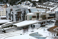 View of Scottish Parliament building at Holyrood after heavy snow in Edinburgh, Scotland, United Kingdom