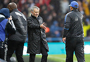Manchester United's Manager Jose Mourinho and Huddersfield Town's Head Coach David Wagner shake hands at full time during the Premier League match between Huddersfield Town and Manchester United at the John Smiths Stadium, Huddersfield, England on 21 October 2017. Photo by Paul Thompson.