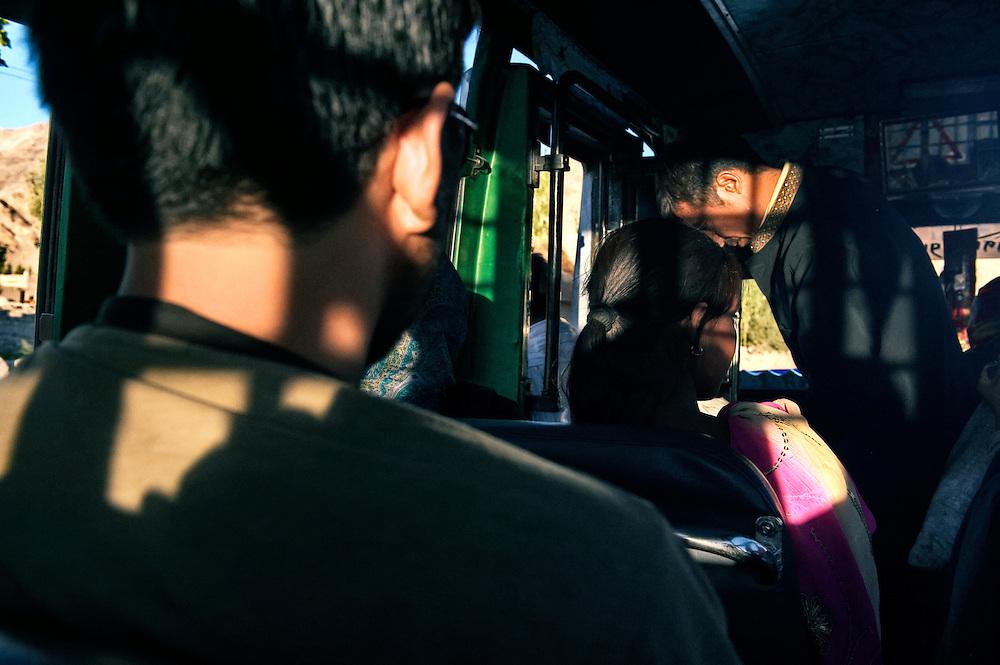 Inside a local bus.